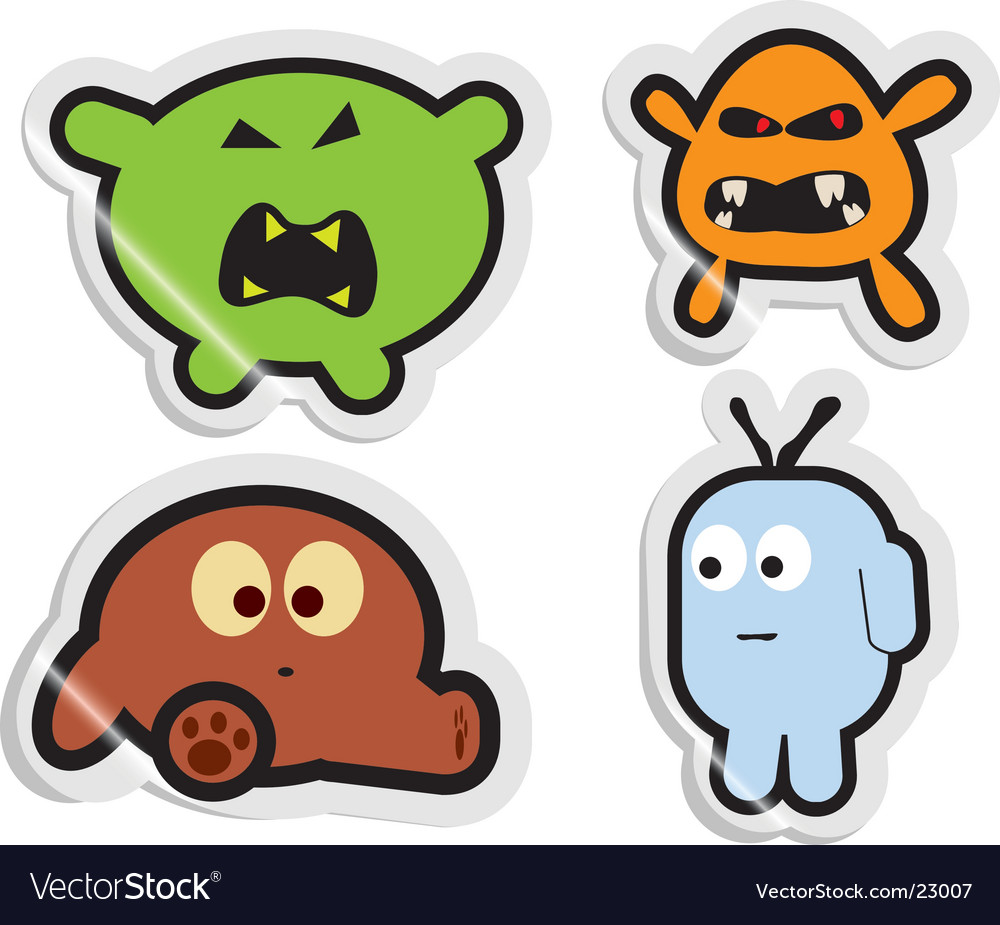 Monster stickers vector | Price: 1 Credit (USD $1)