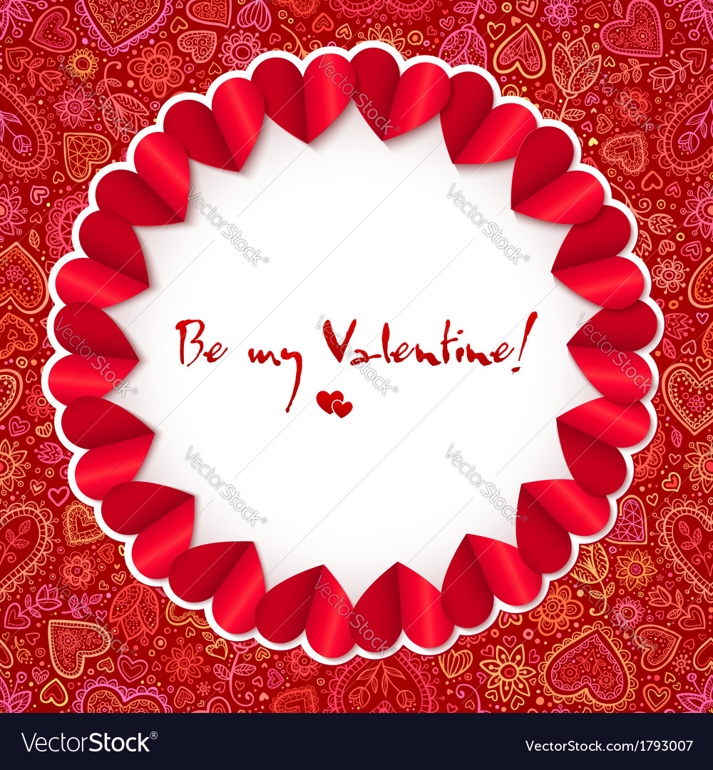 Red circle valentines day greeting card template vector | Price: 1 Credit (USD $1)