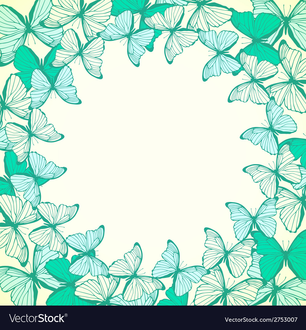 Round frame with decorative butterflies vector | Price: 1 Credit (USD $1)