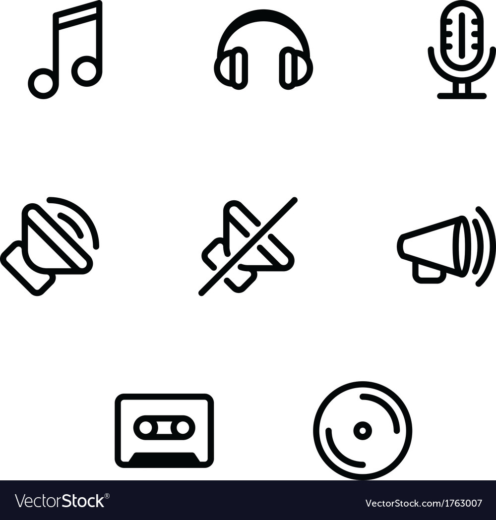 Set of music and sound icons vector | Price: 1 Credit (USD $1)
