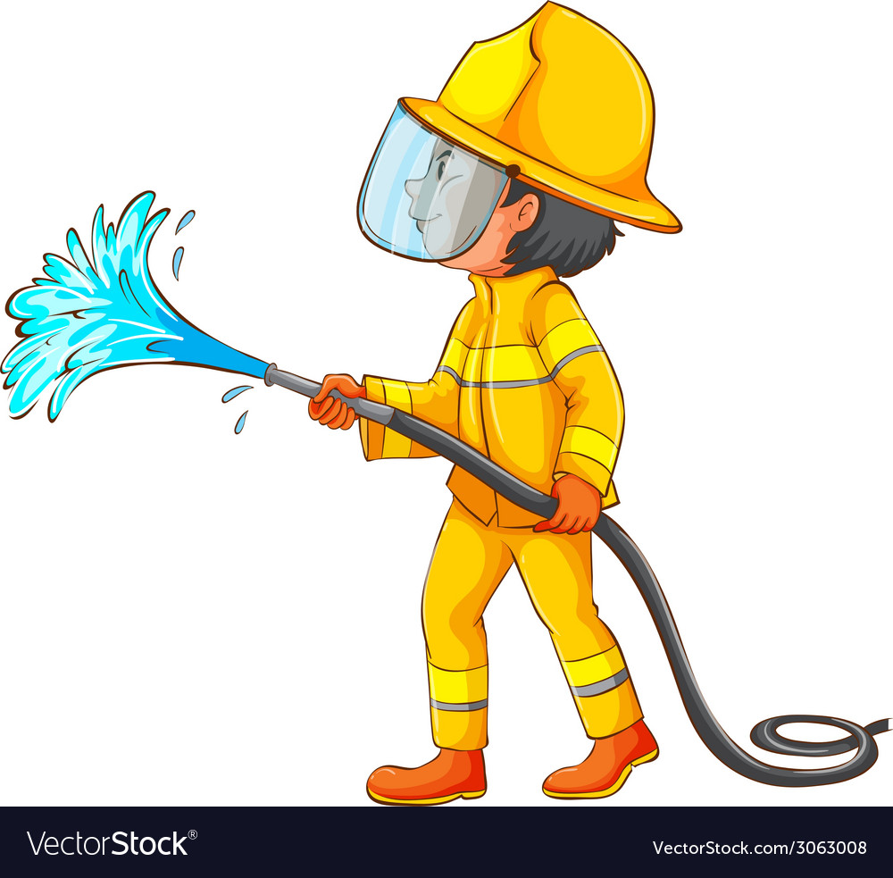 A simple drawing of a firefighter vector | Price: 1 Credit (USD $1)