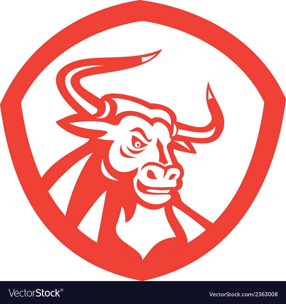 Angry texas longhorn bull head shield retro vector | Price: 1 Credit (USD $1)