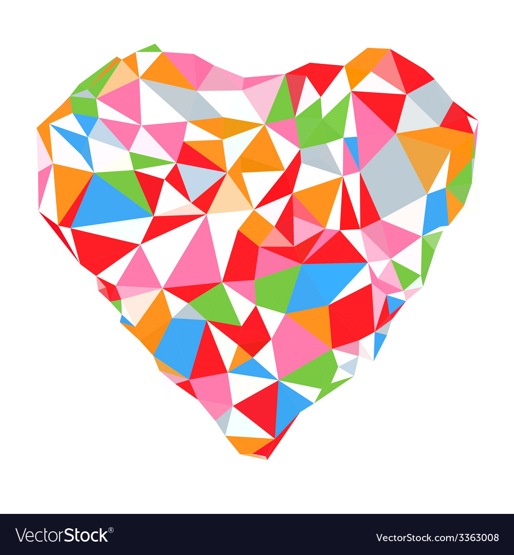 Bright heart in colored on white background vector | Price: 1 Credit (USD $1)