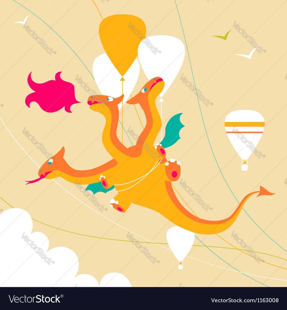 Cartoon funny dragon vector | Price: 1 Credit (USD $1)