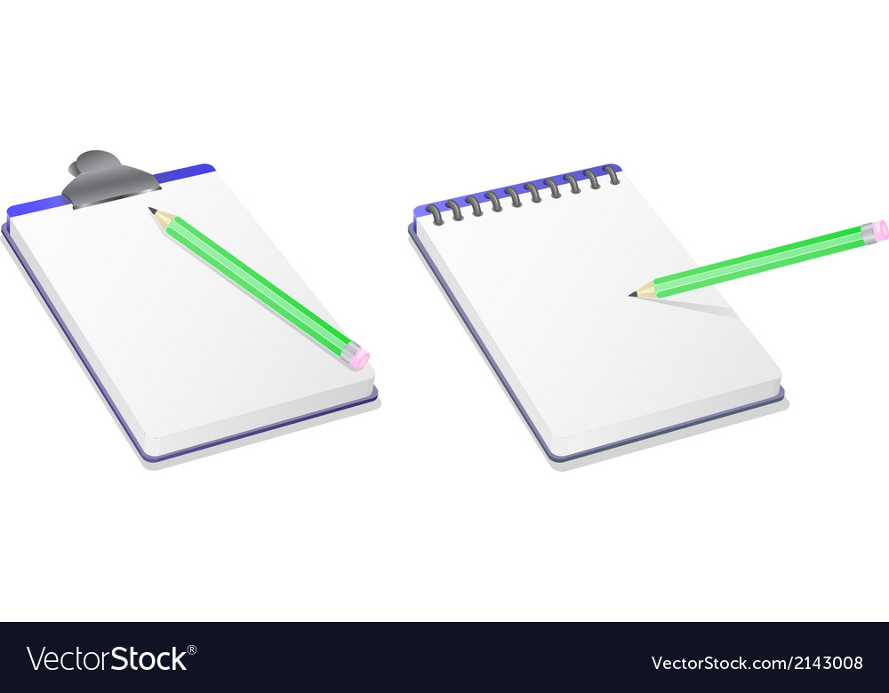 Notepad notebook and pencil vector | Price: 1 Credit (USD $1)