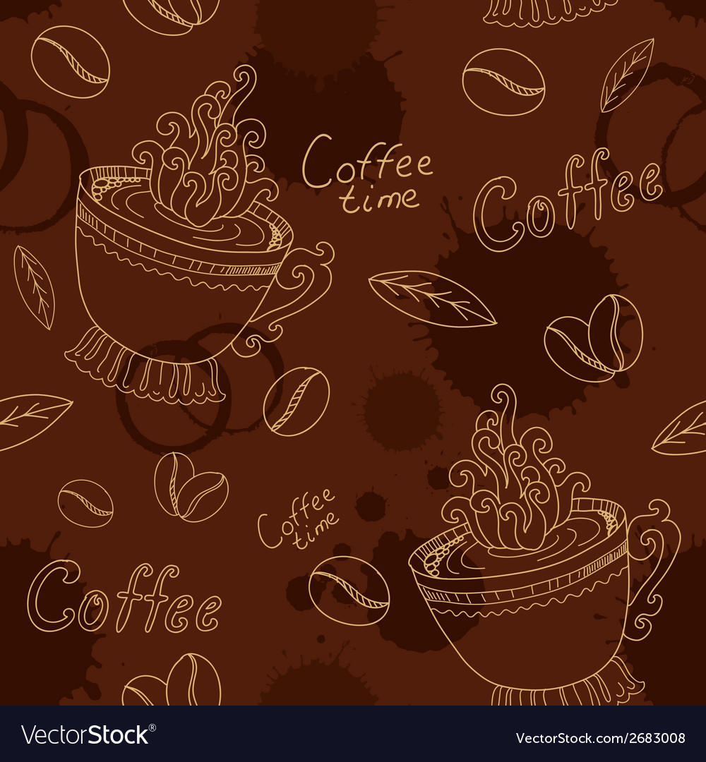 Seamless pattern with cup coffee beans and blots vector | Price: 1 Credit (USD $1)