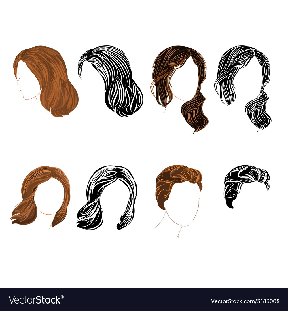 Set long and short hair natural and silhouette vector | Price: 1 Credit (USD $1)
