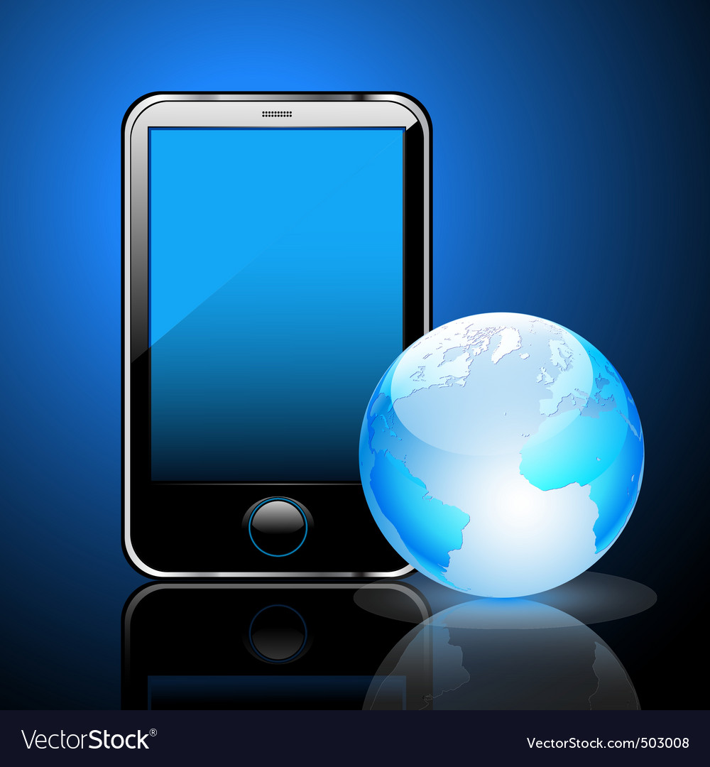 Smart phone and globe vector | Price: 1 Credit (USD $1)