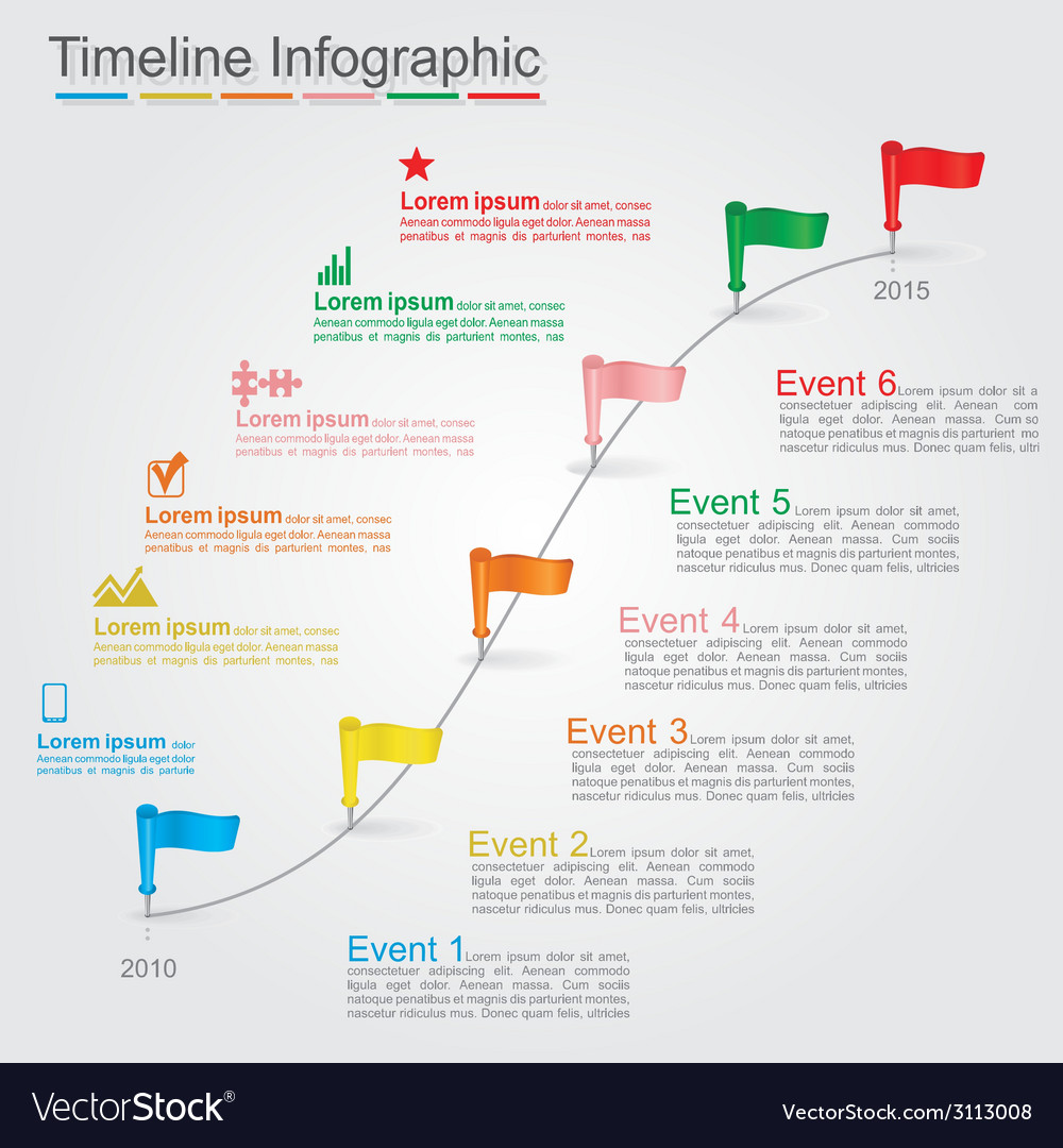 Timeline infographics with elements icons vector | Price: 1 Credit (USD $1)