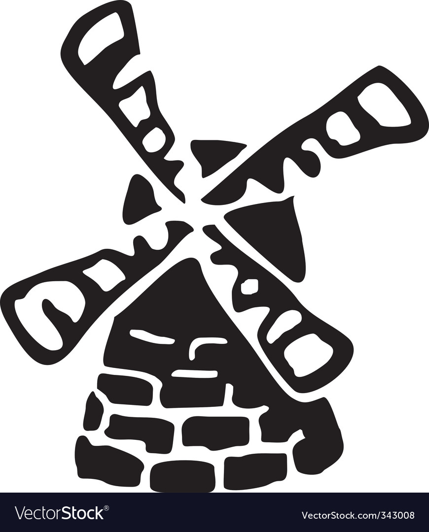 Windmill sketch vector | Price: 1 Credit (USD $1)