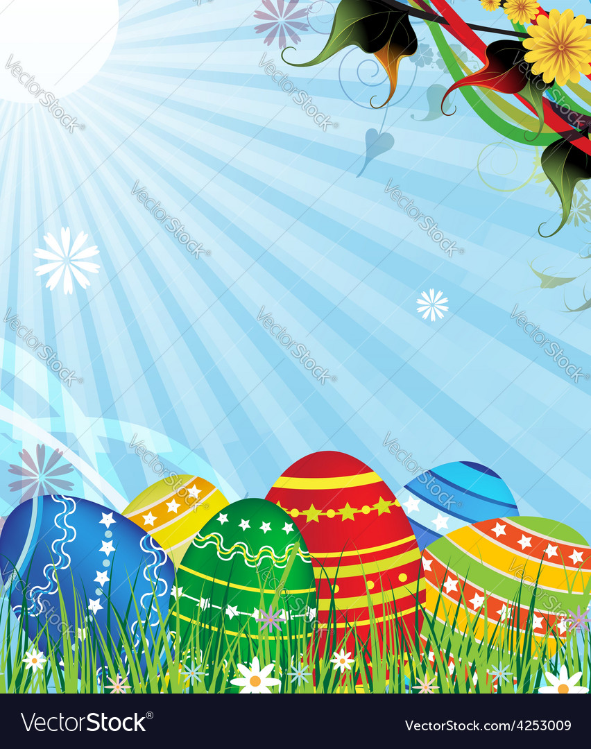 Easter eggs on a sunny meadow vector | Price: 3 Credit (USD $3)