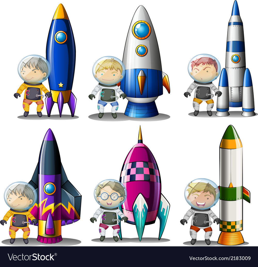 Explorers beside the rockets vector | Price: 1 Credit (USD $1)