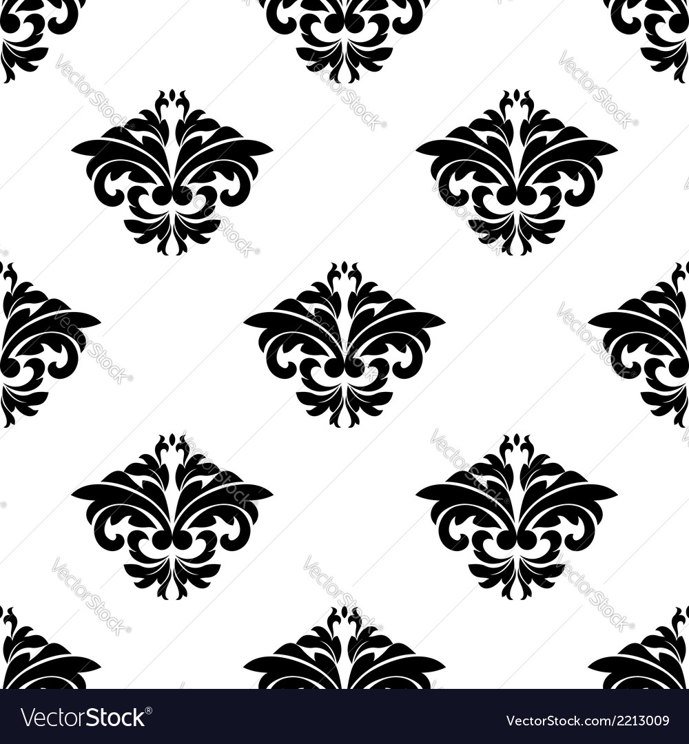 Floral motifs in a repeat seamless damask pattern vector | Price: 1 Credit (USD $1)