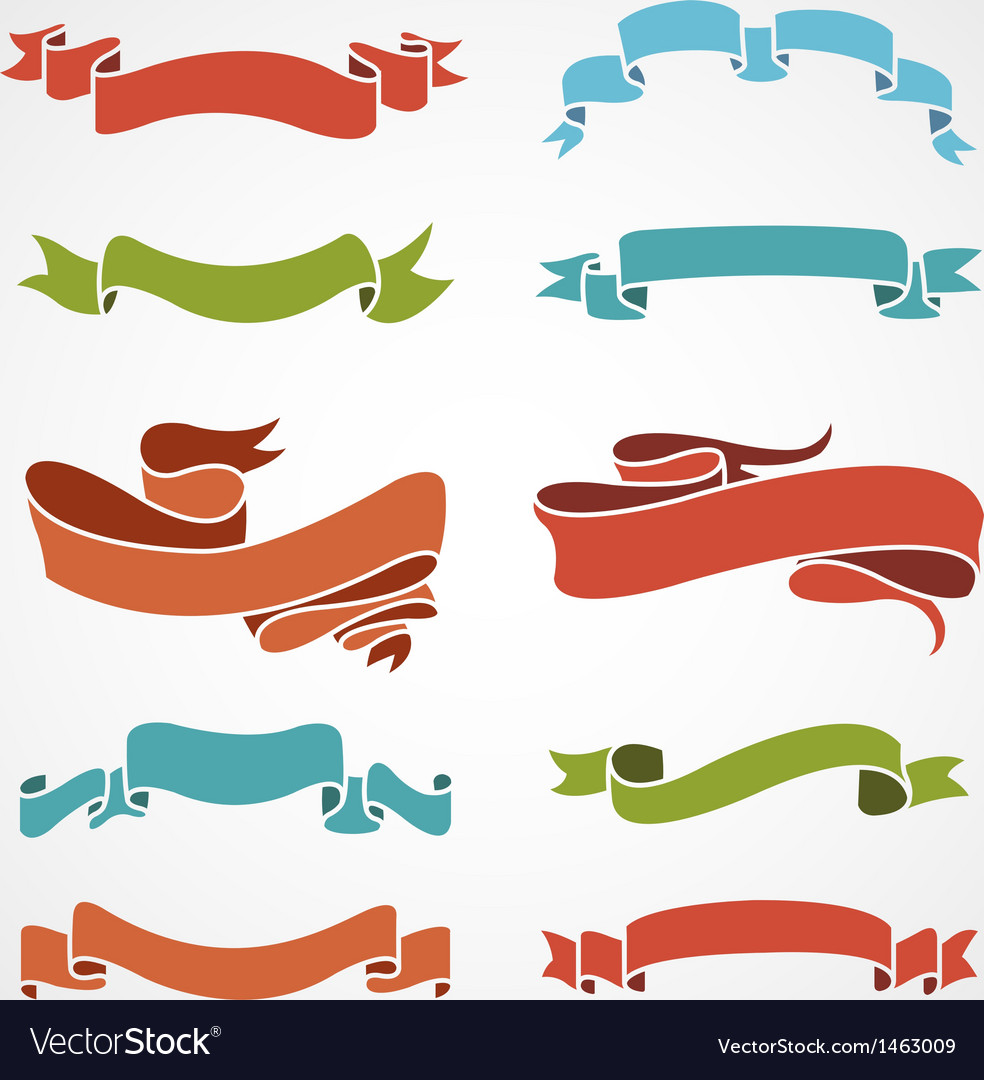 Full color set of vintage ribbons vector | Price: 1 Credit (USD $1)
