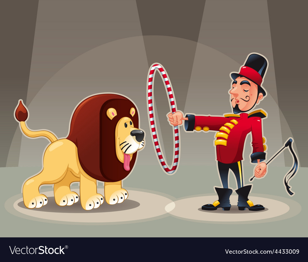 Lion tamer with lion vector | Price: 1 Credit (USD $1)