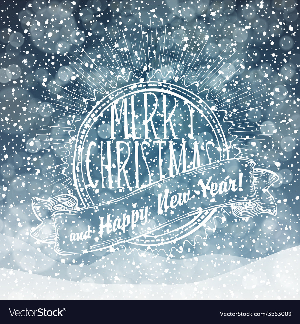 Merry christmas card with snow texture vector | Price: 1 Credit (USD $1)