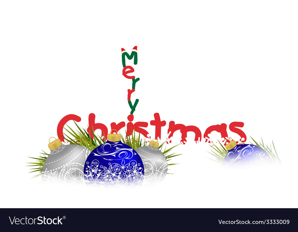 Merry christmas with balls background vector