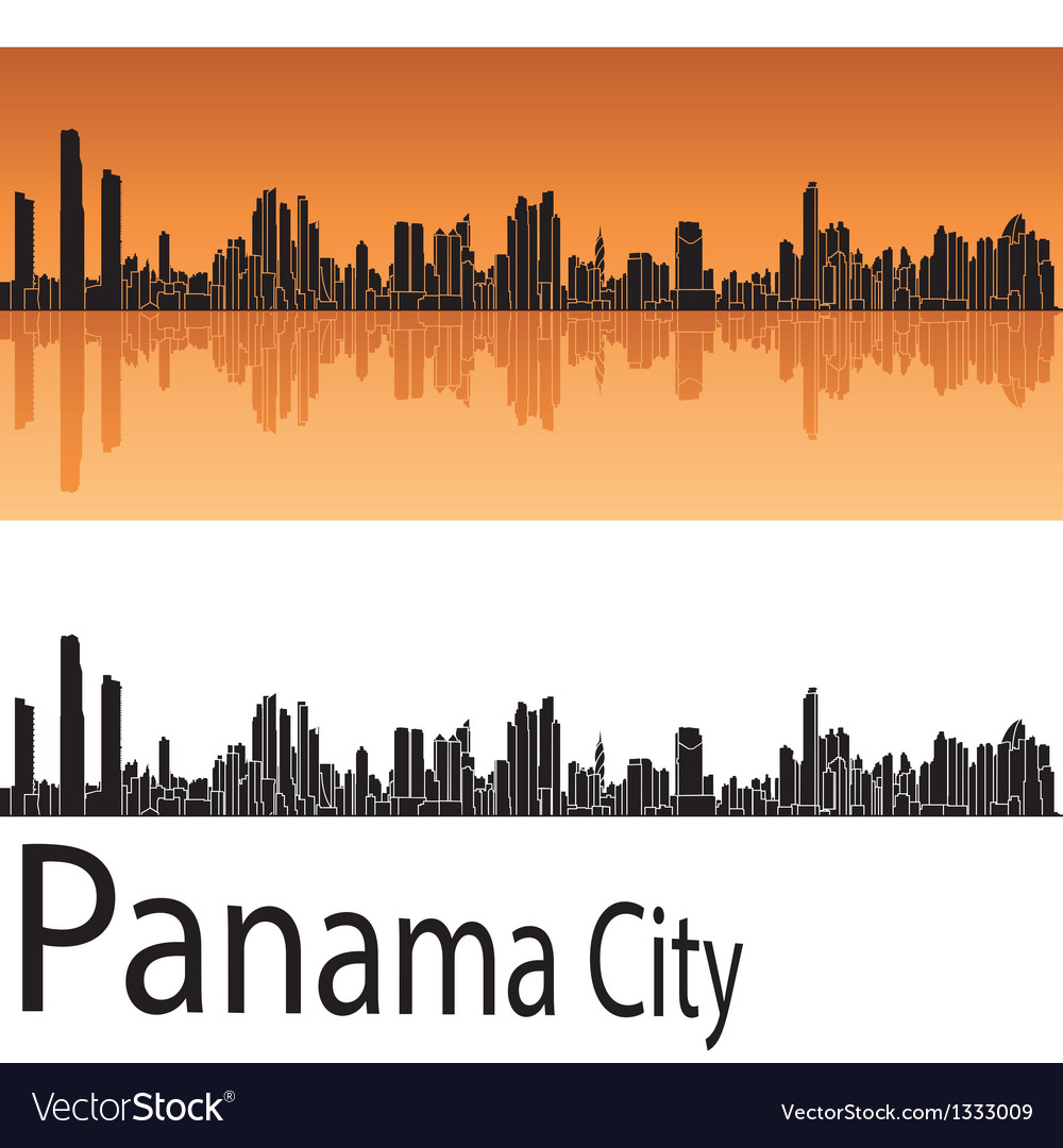 Panama city skyline in orange background vector | Price: 1 Credit (USD $1)