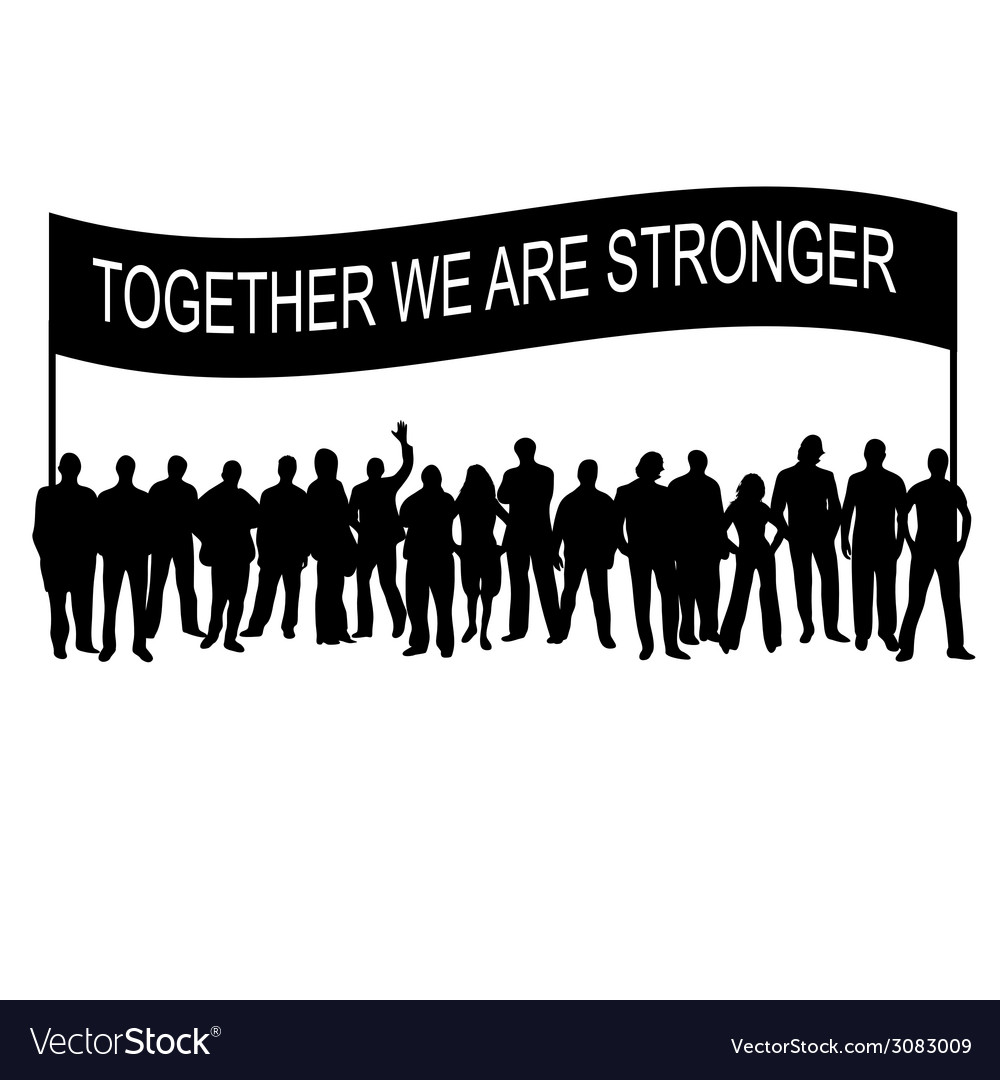 People together with message silhouette vector | Price: 1 Credit (USD $1)