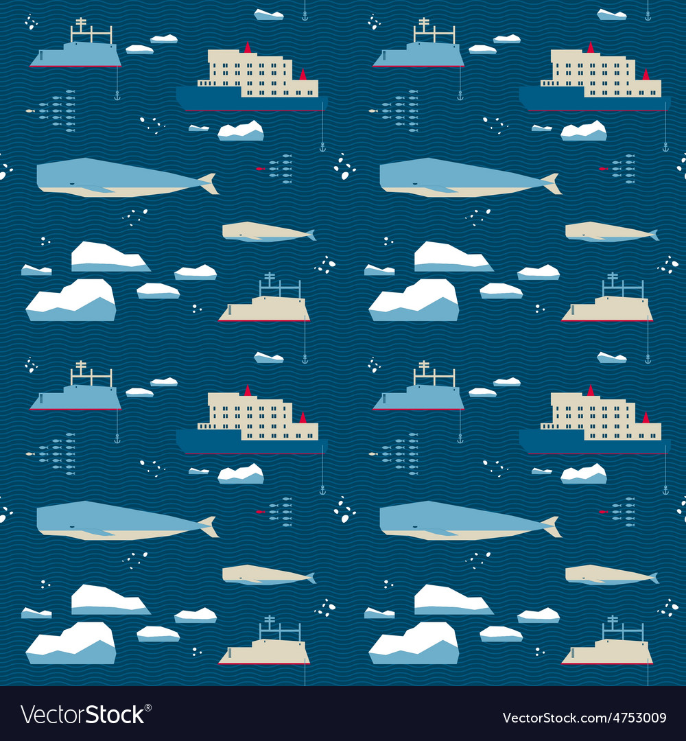Seamless pattern whale and icebreaker vector | Price: 1 Credit (USD $1)
