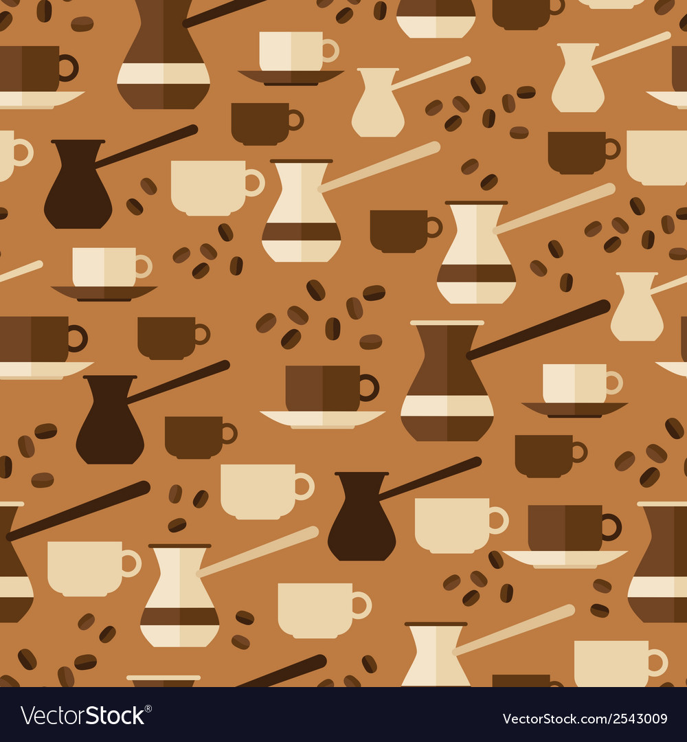 Seamless pattern with coffee icons in flat design vector | Price: 1 Credit (USD $1)