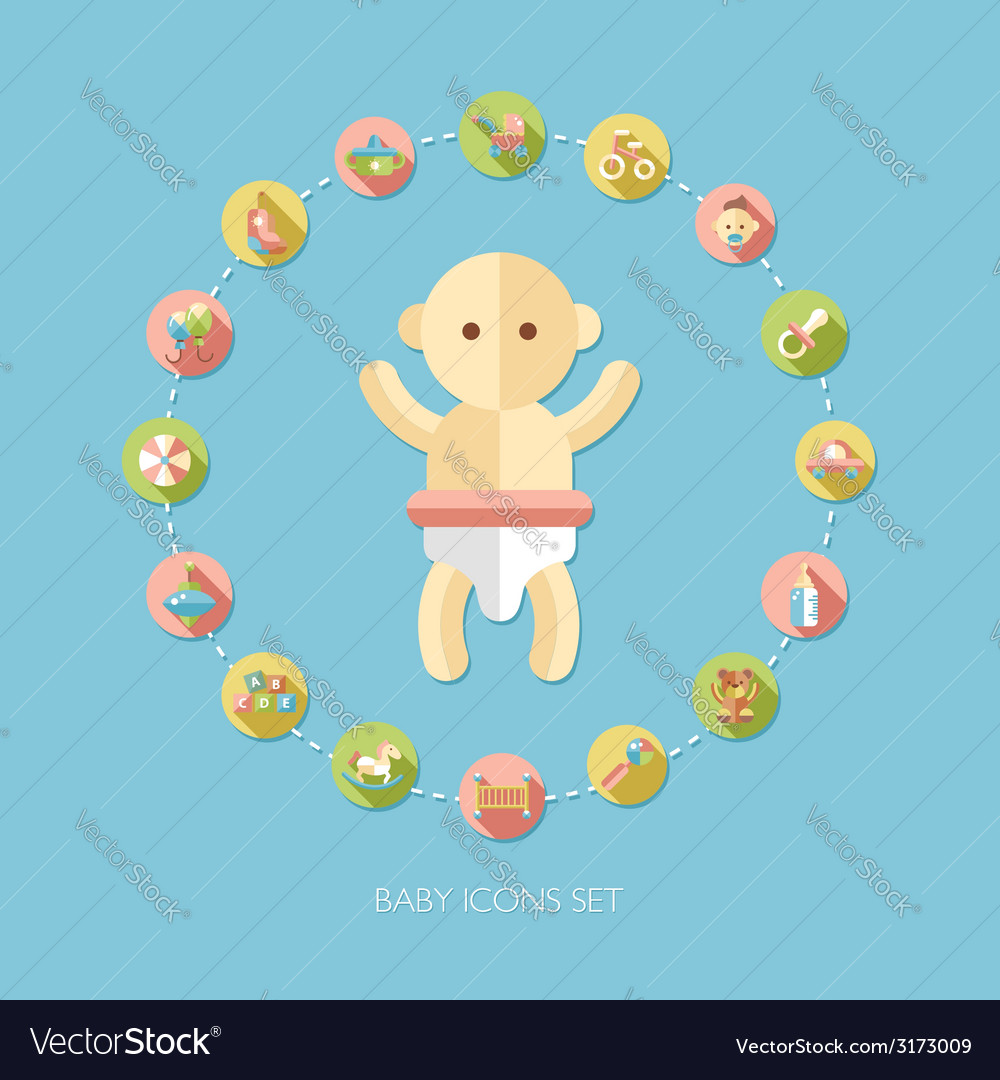 Set of flat design pastel cute baby icons vector | Price: 1 Credit (USD $1)