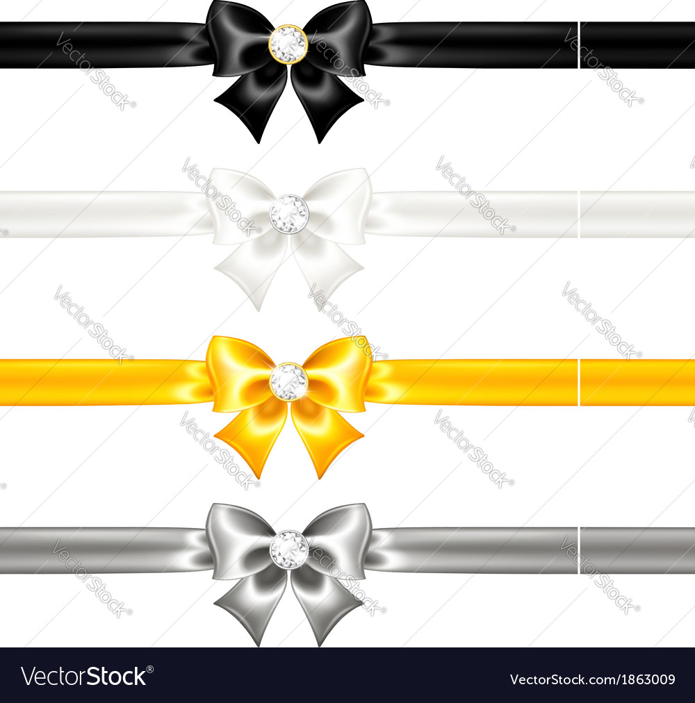 Silk bows black and gold with diamonds and ribbons vector | Price: 1 Credit (USD $1)