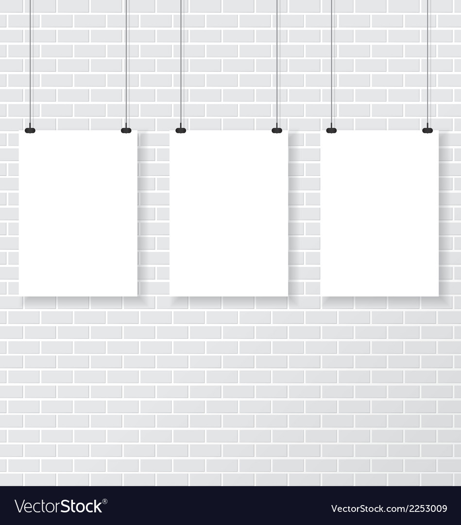 Three white poster on brick wall vector | Price: 1 Credit (USD $1)