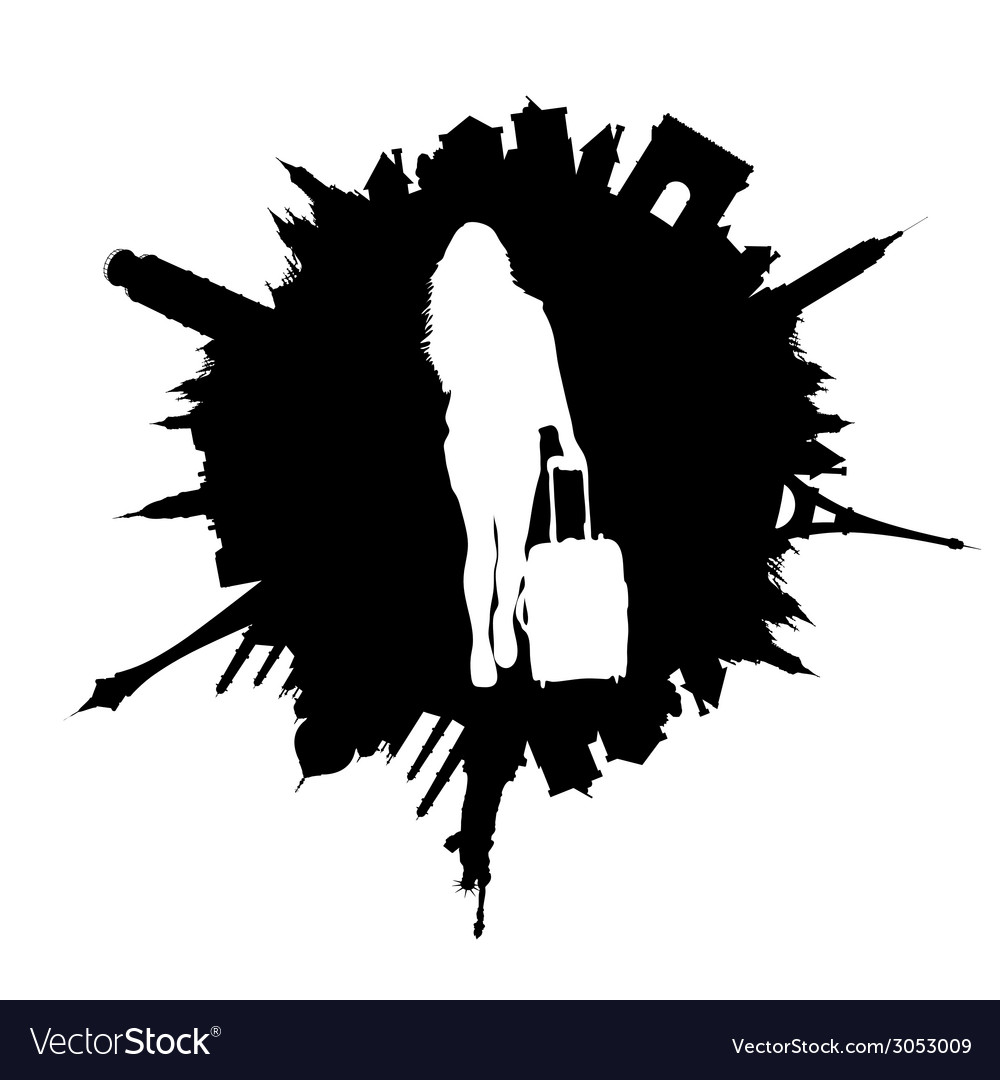 Traveling girl with travel bag white vector   Price: 1 Credit (USD $1)