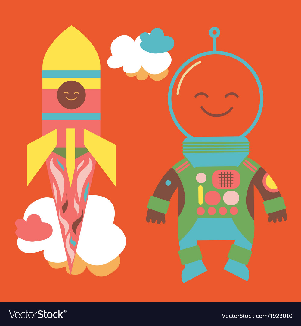 Astronaut and rocket vector | Price: 1 Credit (USD $1)