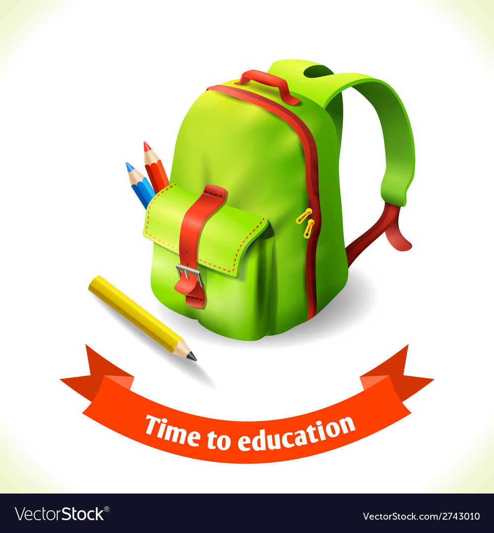 Backpack education icon vector | Price: 1 Credit (USD $1)