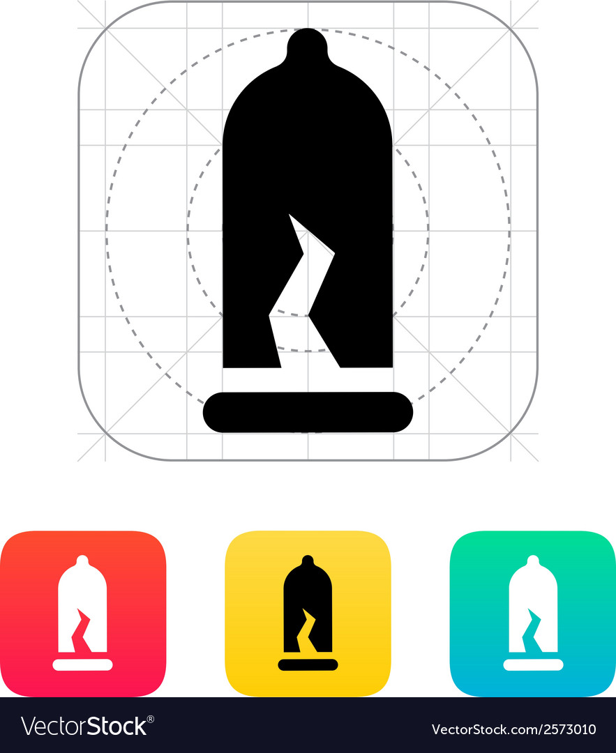 Damaged condom icon vector | Price: 1 Credit (USD $1)