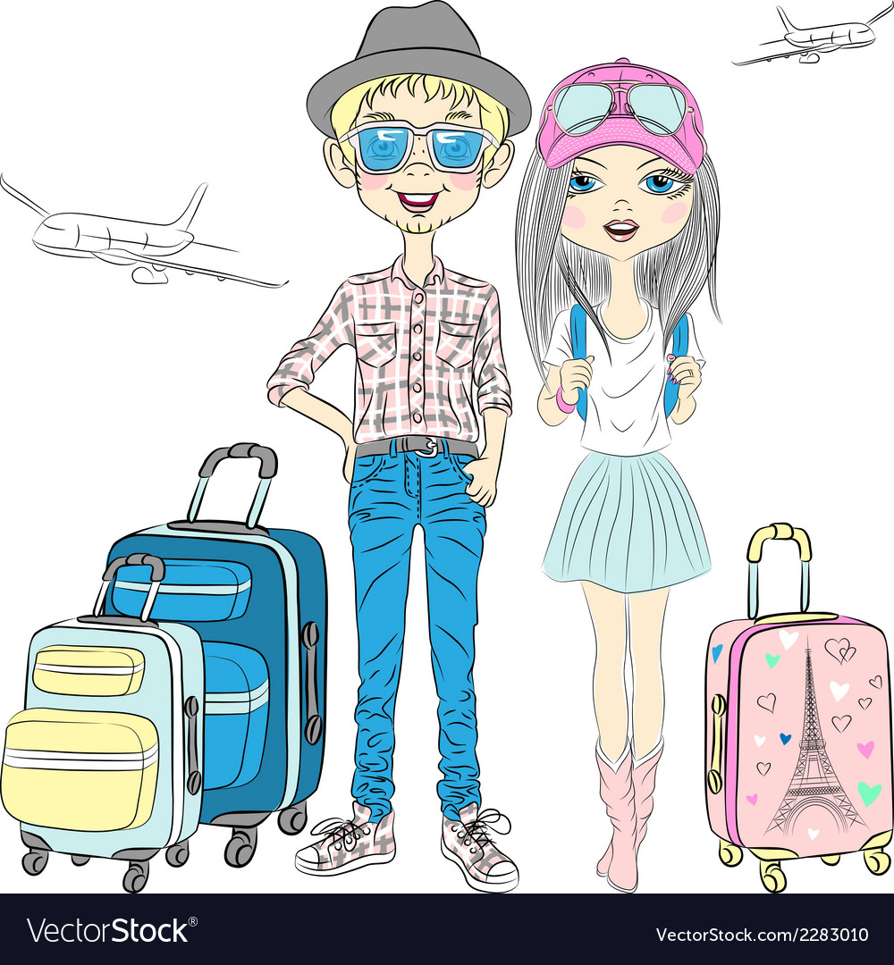 Fashion girl and hipster guy with suitcases travel vector | Price: 1 Credit (USD $1)