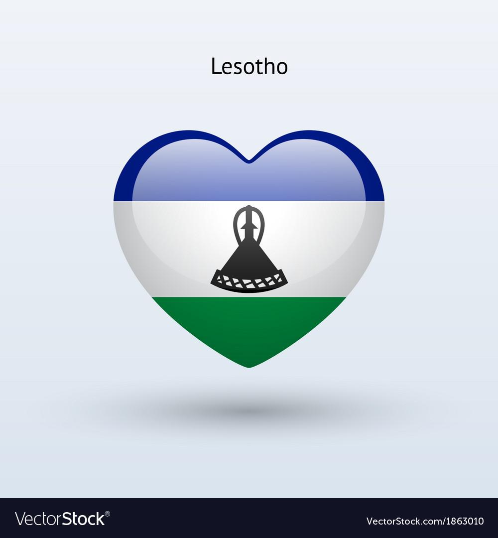 Love lesotho symbol heart flag icon vector | Price: 1 Credit (USD $1)