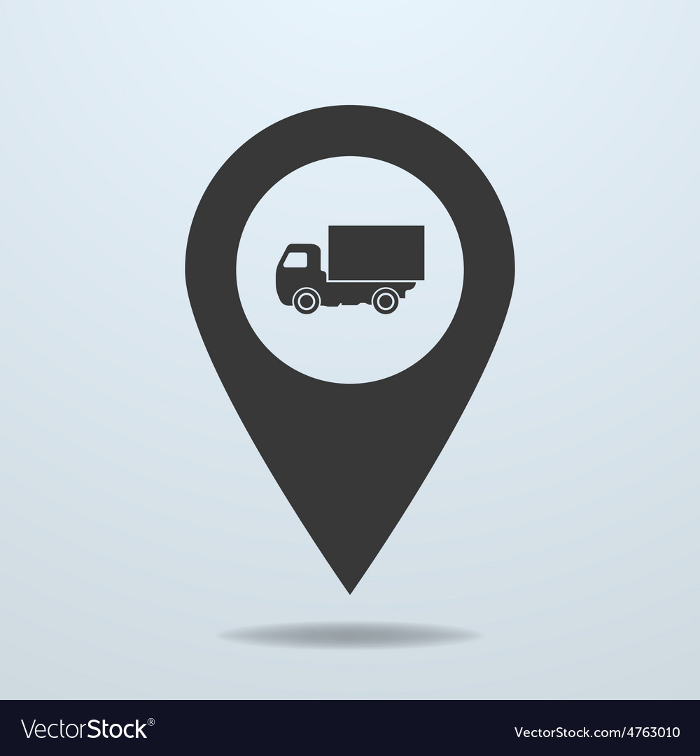 Map pointer with a truck symbol vector | Price: 1 Credit (USD $1)