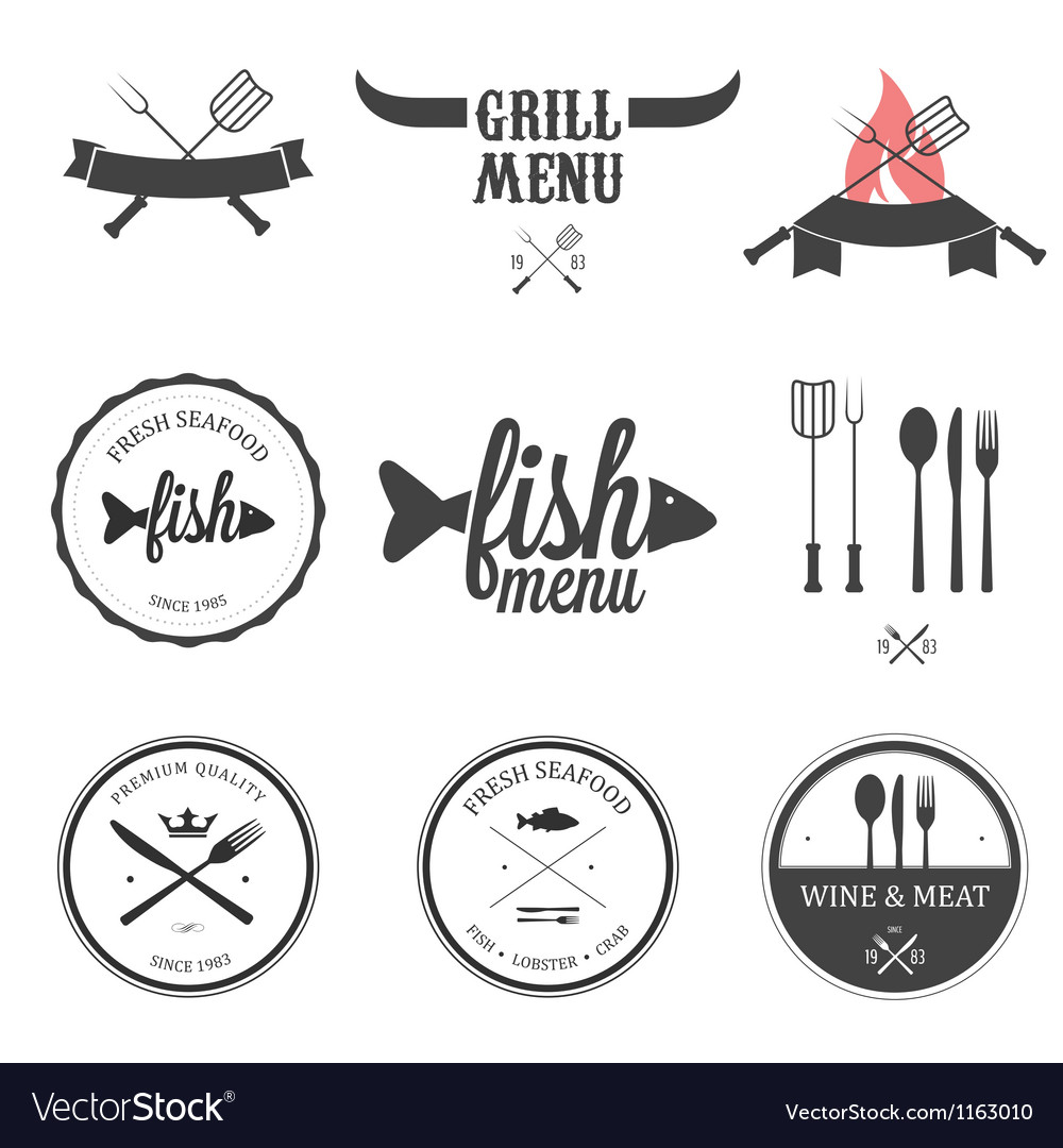 Restaurant menu design elements set vector | Price: 1 Credit (USD $1)