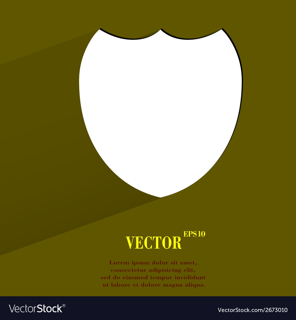 Shield protection flat modern web button with long vector | Price: 1 Credit (USD $1)