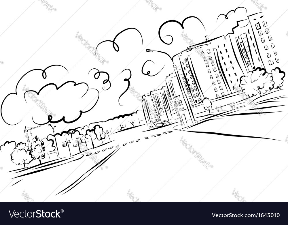 Sketch of cityscape for your design vector | Price: 1 Credit (USD $1)