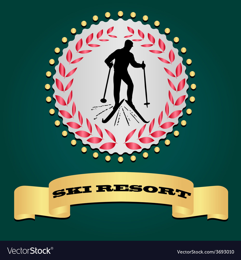 Ski resort logo silhouette of the skier vector | Price: 1 Credit (USD $1)