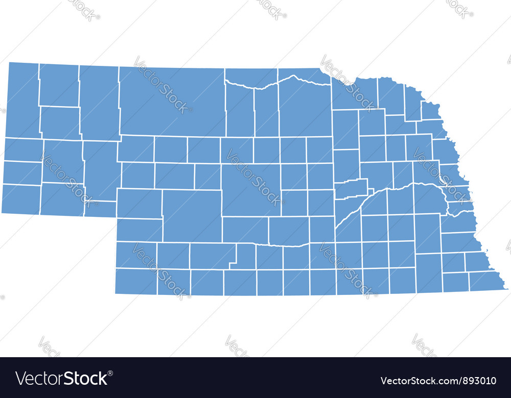 State map of nebraska by counties vector | Price: 1 Credit (USD $1)