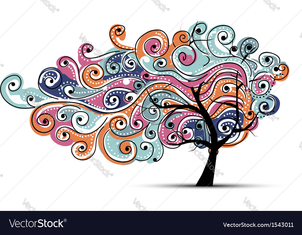 Abstract wavy tree for your design vector | Price: 1 Credit (USD $1)