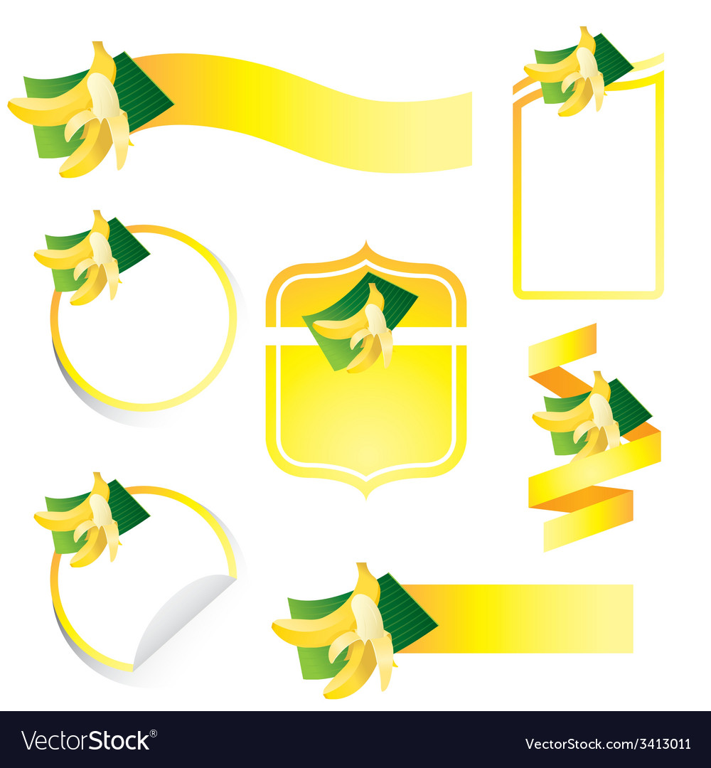 Banana label set vector | Price: 1 Credit (USD $1)