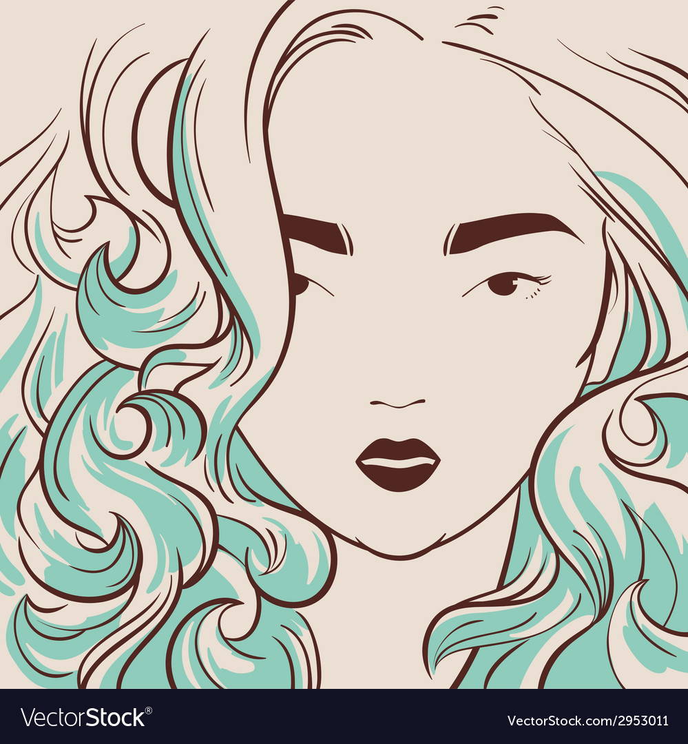 Beautiful woman with long hair hand drawn vector | Price: 1 Credit (USD $1)