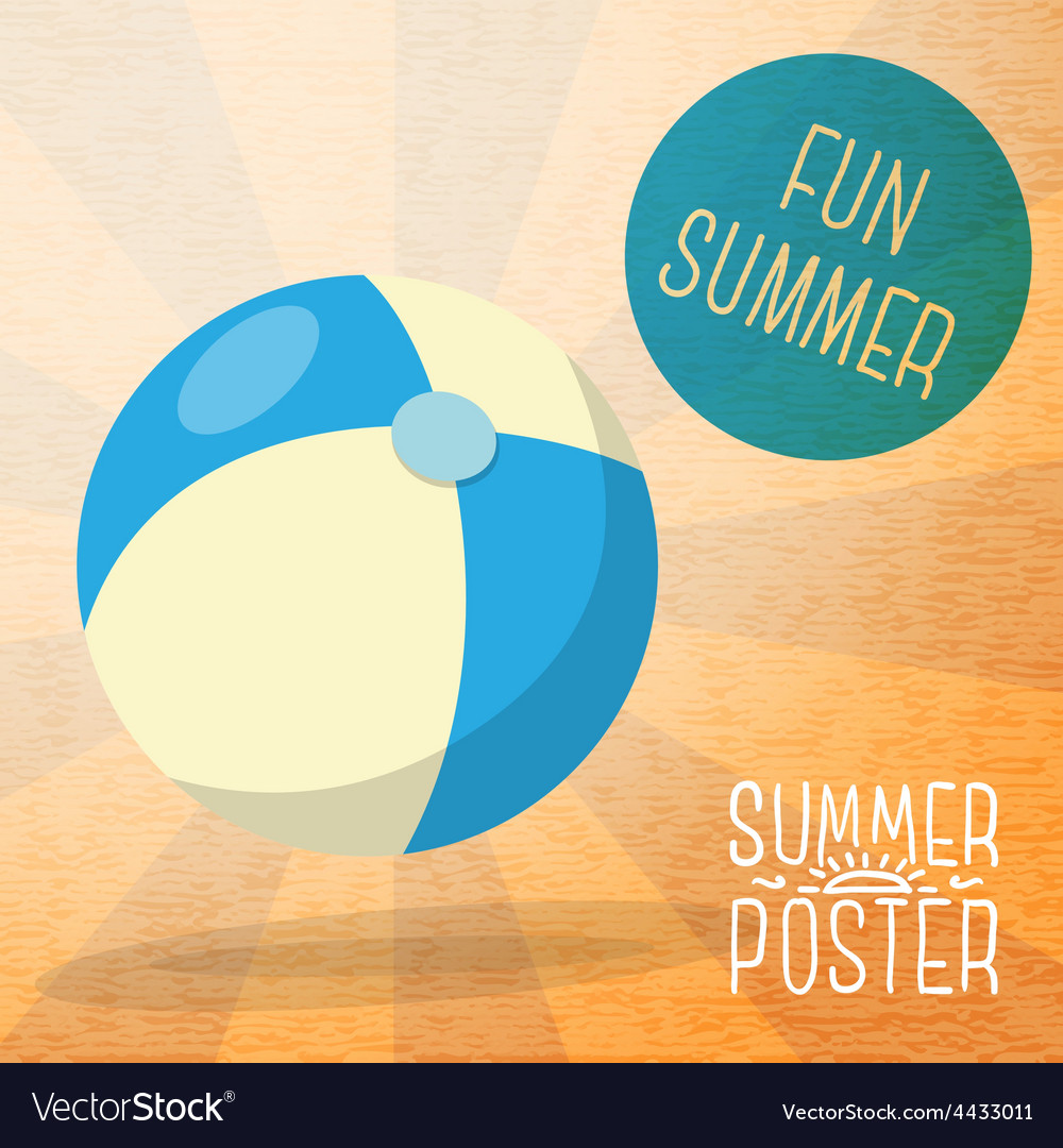 Cute summer poster - blue and yellow striped beach vector | Price: 3 Credit (USD $3)