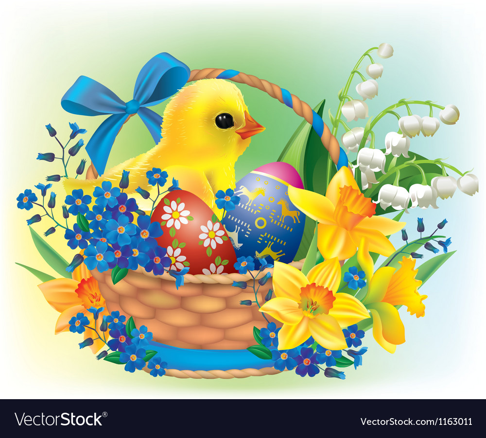 Easter basket with a baby chick vector | Price: 1 Credit (USD $1)
