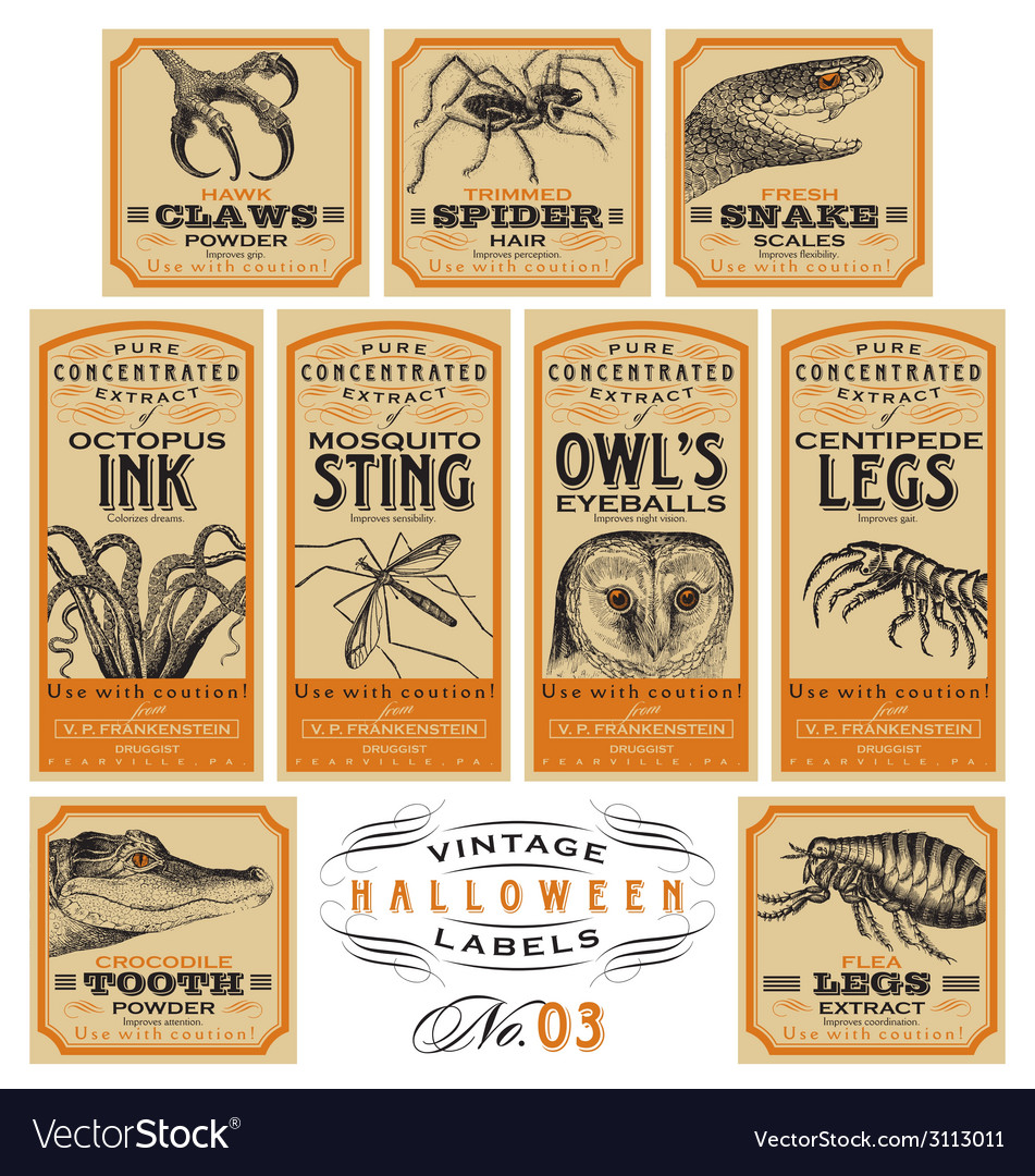 Funny vintage halloween apothecary labels - set 03 vector