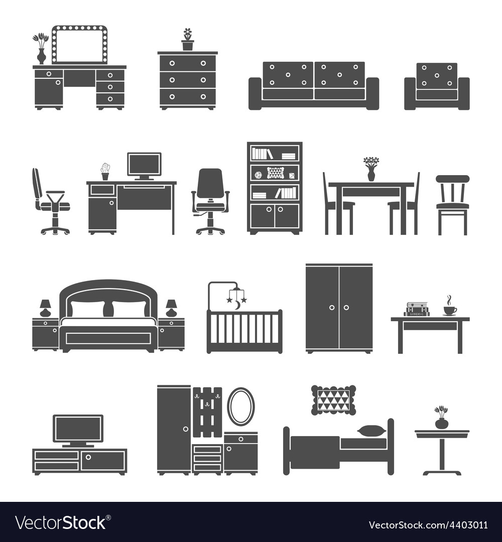 Furniture interior flat icons vector | Price: 1 Credit (USD $1)