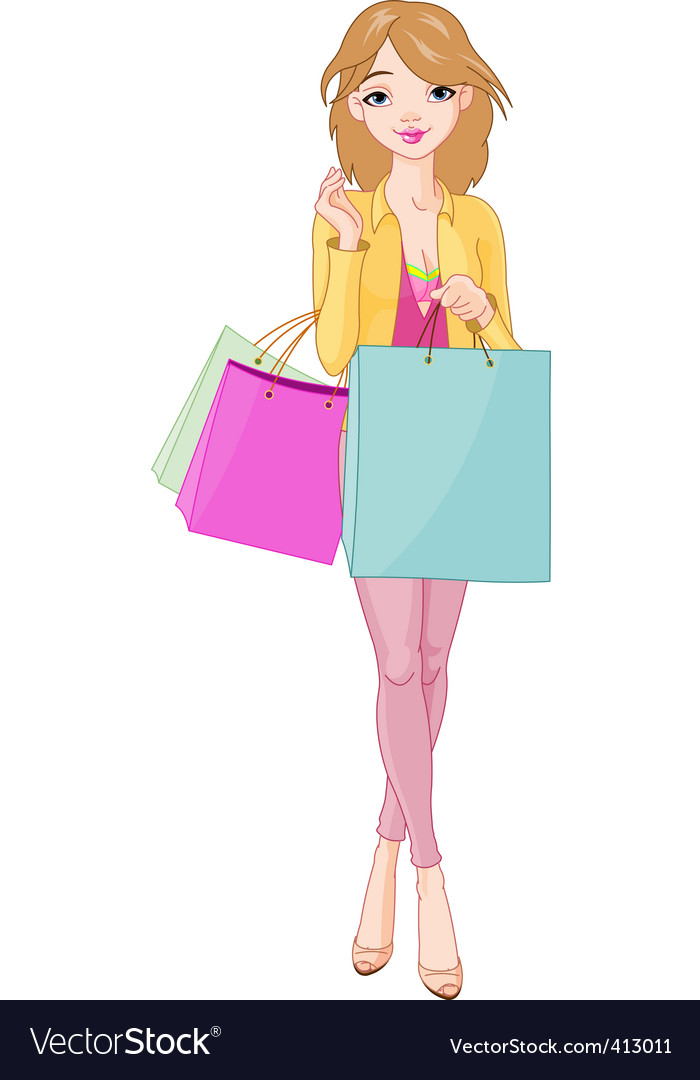 Girl with shopping bags vector | Price: 3 Credit (USD $3)