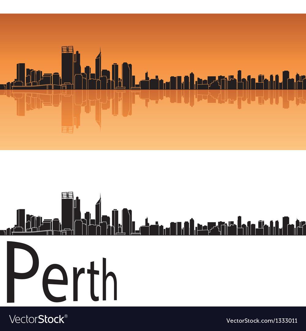 Perth skyline in orange background vector | Price: 1 Credit (USD $1)