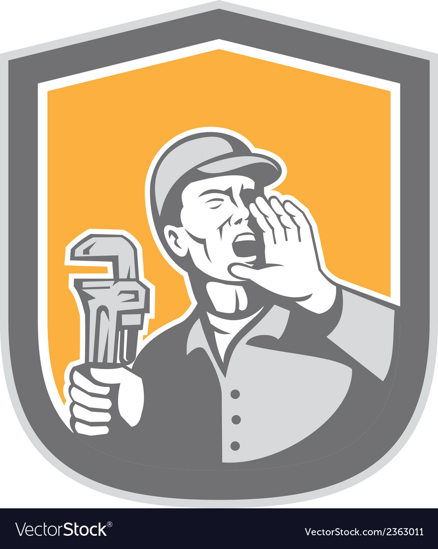 Plumber shouting holding wrench shield retro vector | Price: 1 Credit (USD $1)